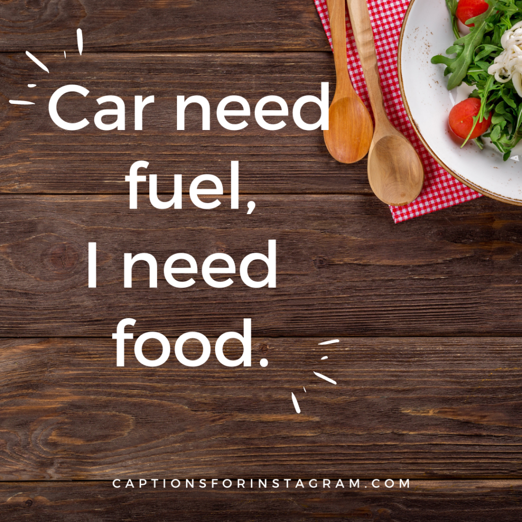 Car need fuel, I need  food. captions